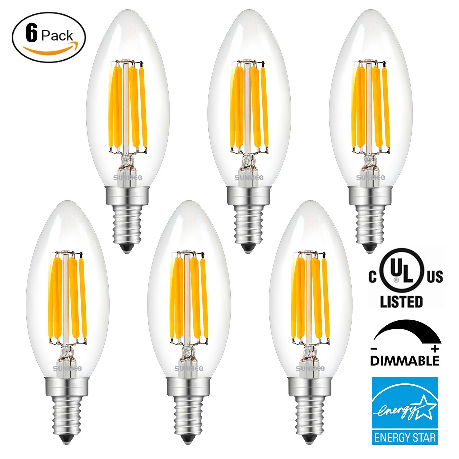 SUNMEG 6W Dimmable Chandelier Bulb, 600LM LED Filament Candle Light Bulbs, 2700K Warm White, 60W Incandescent Replacement, E12 Candelabra Base B11 LED Light Bulb, 6 Pack