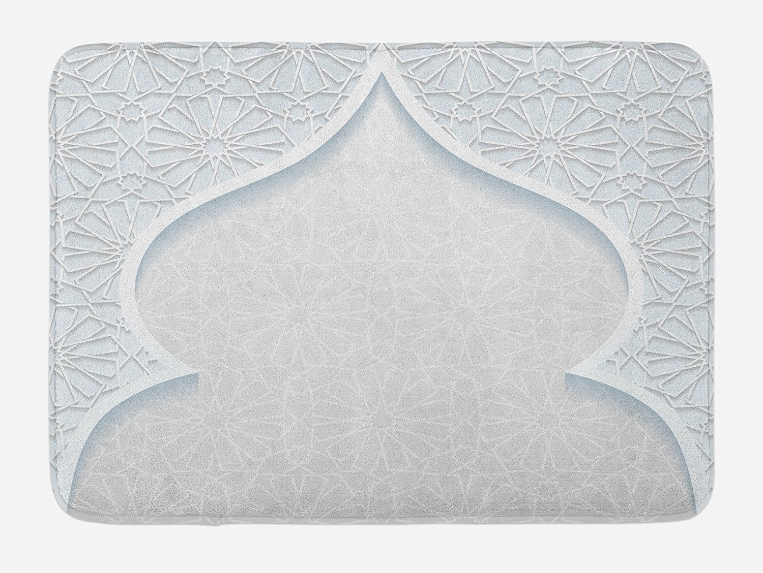Ethnic Bath Mat by Lunarable, Ornamental Moroccan Mosque Pattern Retro Middle Eastern Inspired Motifs Image Print, Plush Bathroom Decor Mat with Non Slip Backing, 29.5 W X 17.5 W Inches, Pale Blue