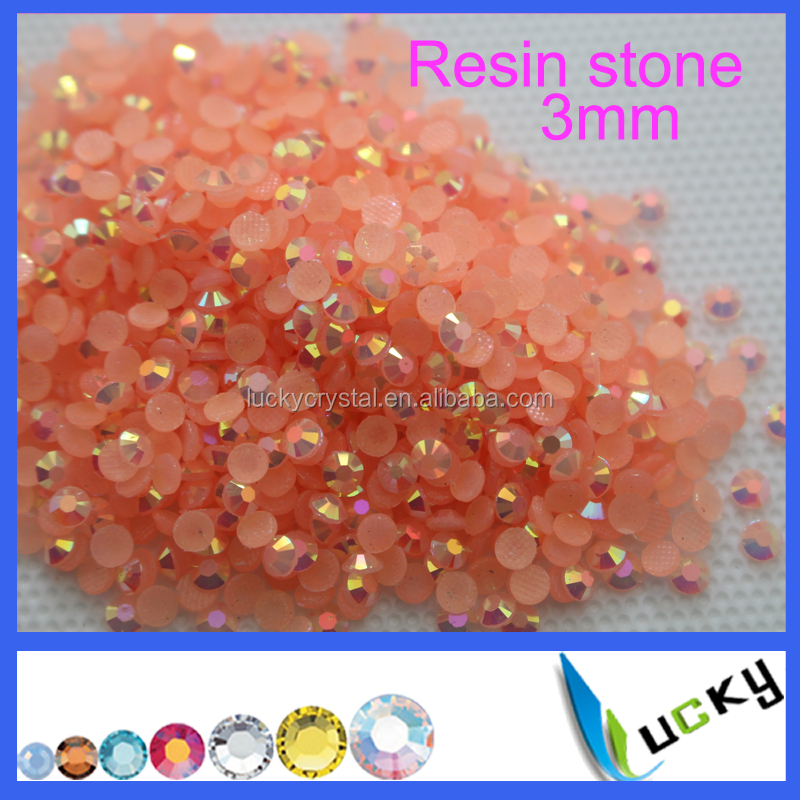 wholesales 3mm Jelly AB color round Hotfix resin stones for nailart decoration clothes accessories