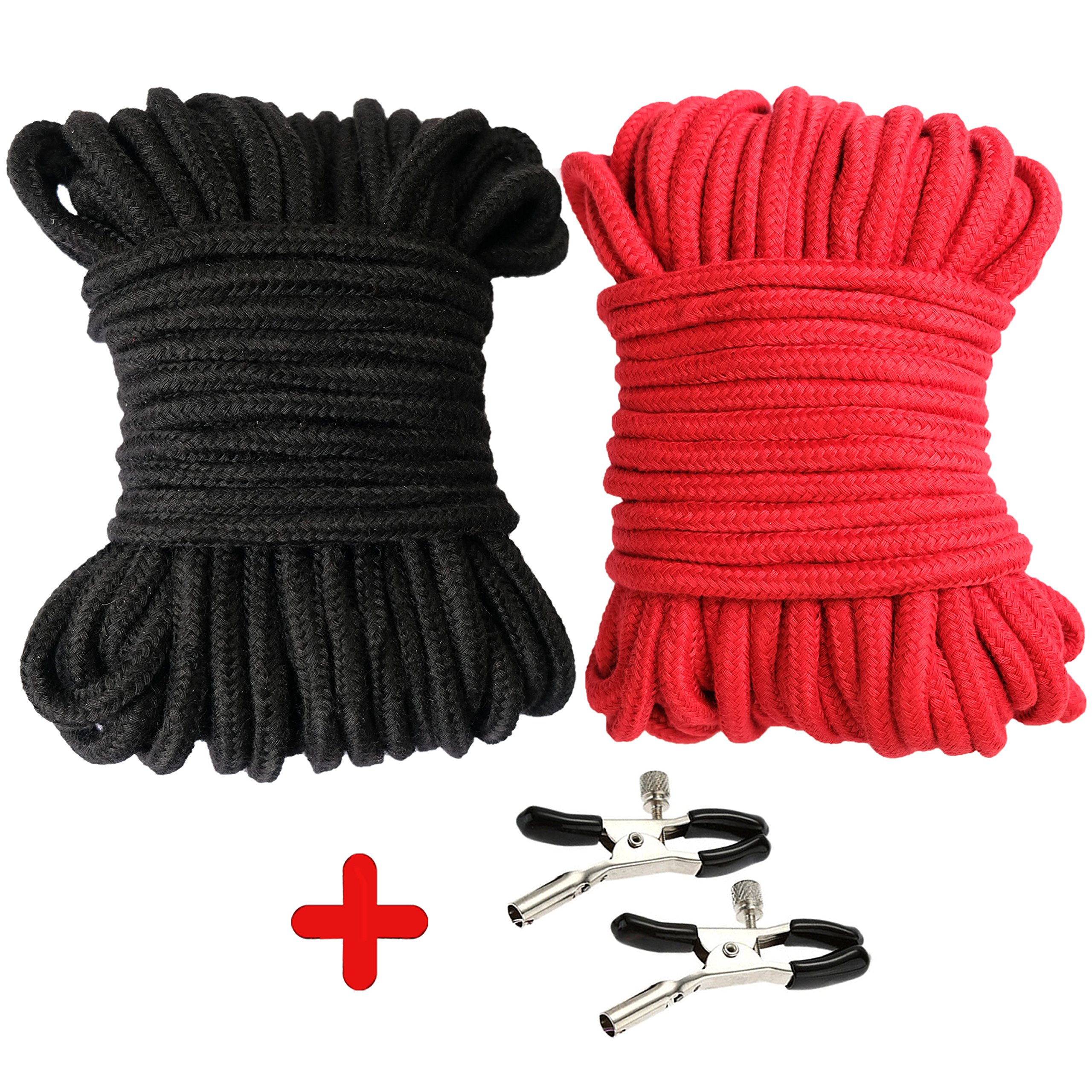 SENSILAND Cotton Rope for All Purposes – Pack of 2, Black & Red, 32 Feet Length each Piece – 64 Feet in Total, 1/3-inch Diameter – Easy to Tie and Untie Knots + 2 Multi-function Clamps
