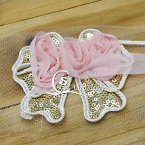 fashion sequin fabric bows -chiffon rosette bowknots for garment accessories