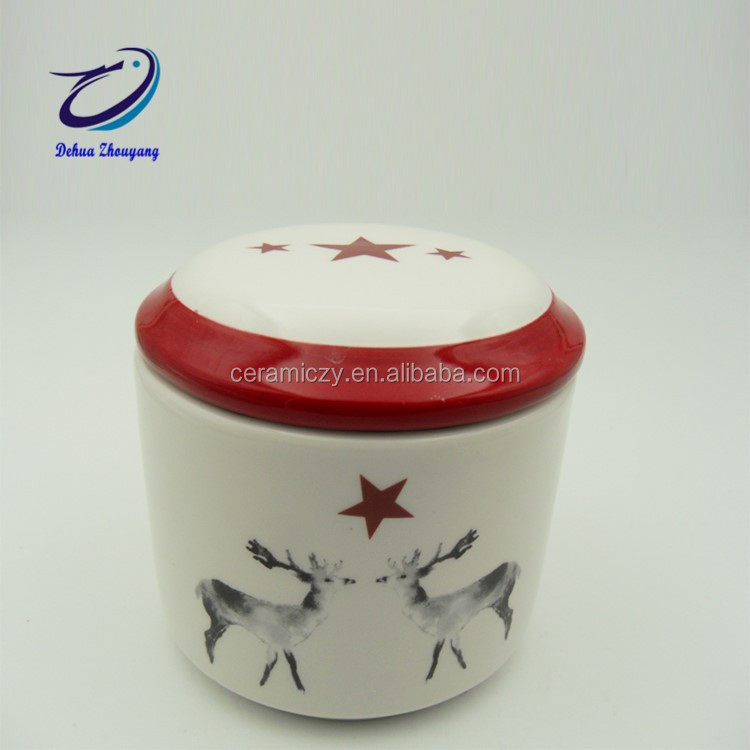 Christmas Vintage Ceramic Kitchen Flour Canister Cookie Jar Air