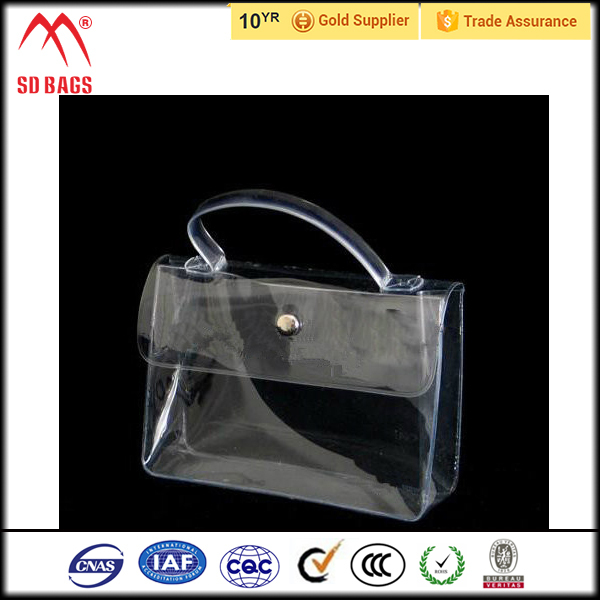 Clear PVC Wine Ice Bag With Plastic Tube Handle