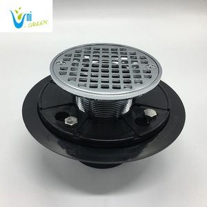 Cast iron adjustable shower drain with pvc drain base