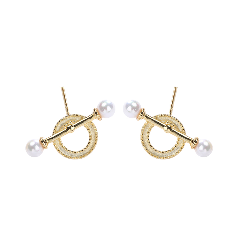 E1723 18k gold Geometry shell <strong>pearl</strong> <strong>stud</strong> <strong>earrings</strong> by Moyu