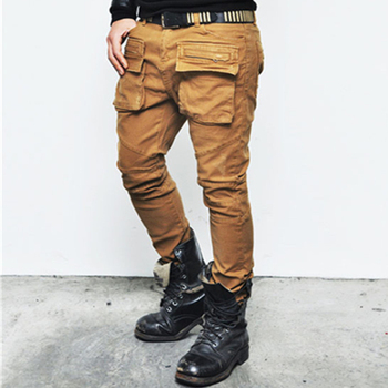 Hot Sale Color Tan Only Semi Baggy Mens Slim Cotton Biker Pants an jeans