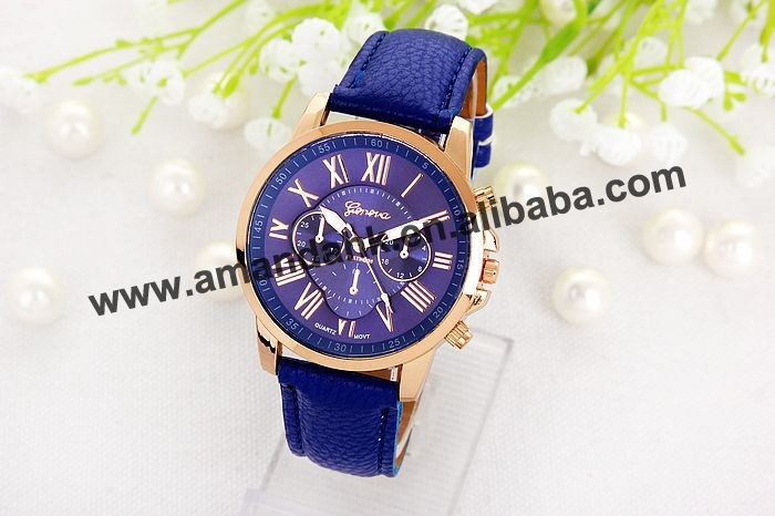 100pcs/lot free shipping wholesale price the Newest Hot Rose Gold Geneva Leather Watch Fashion Watch