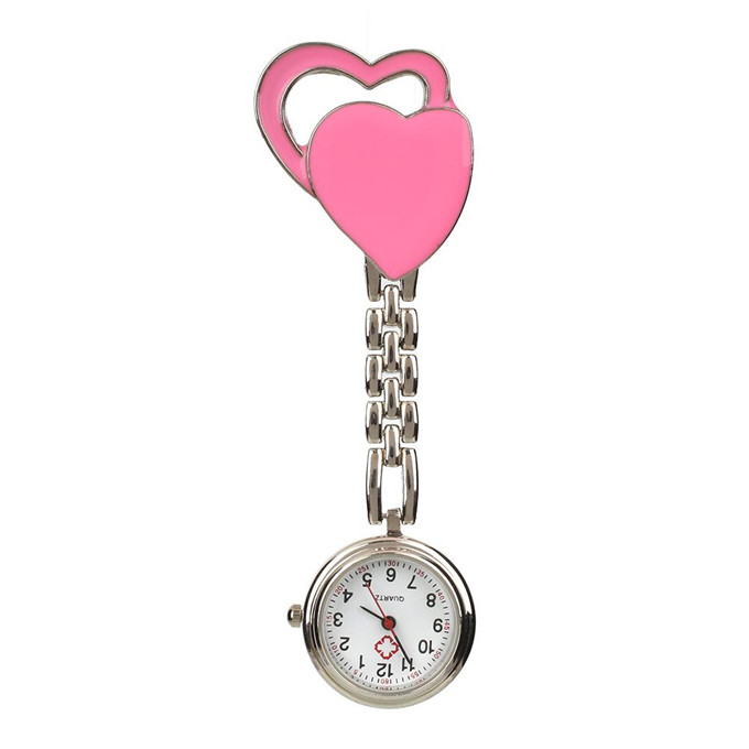 2017 Womens Pocket Fobwatch Heart Clip On Hanging Nurse Fob Watch Quartz