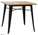 Antique industrial wood top square side center dinning table