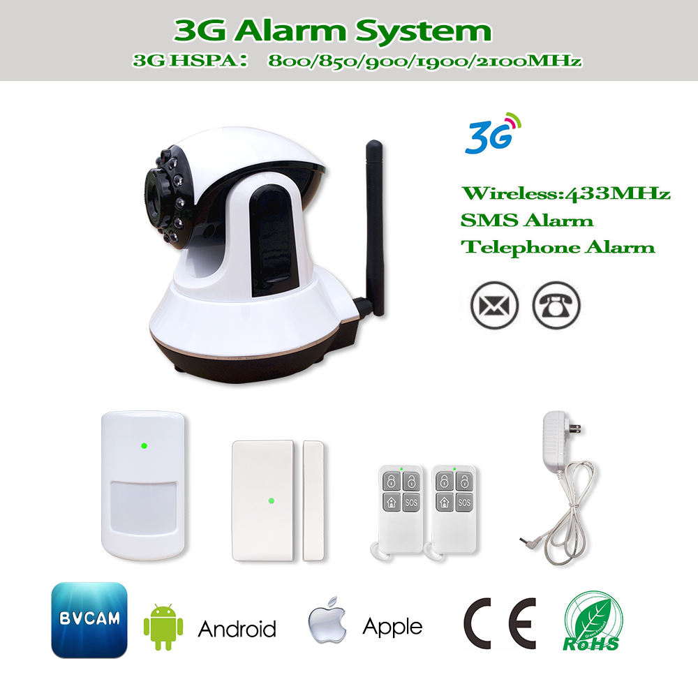 Home intelligent WIFI 3G GPRS SMS auto dial wireless 433mhz security camera alarm system support APP control 16 home appliance