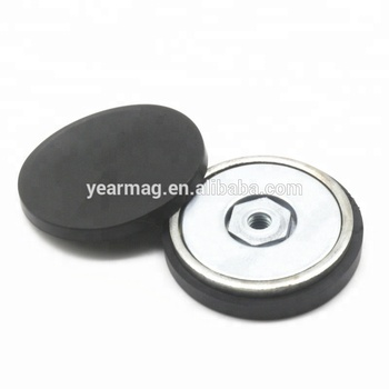 Female Thread Neodymium Pot Diameter 22mm x 6mm Coating Magnet with Rubber Case for Holding Mounting