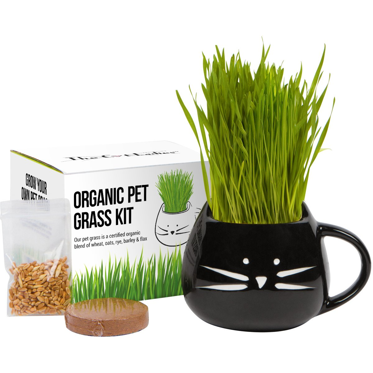 Organic cat grass growing kit with organic seed mix, organic soil and cat planter. Great gift for mom & makes a great Mothers Day Gift. Natural hairball control, remedy for cats. Natural digestive aid