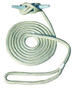 Invincible Marine 15-Foot Double Braid Hand Spliced Nylon Dock Line, 3/8-Inches by 15-Feet, Gold by Invincible Marine