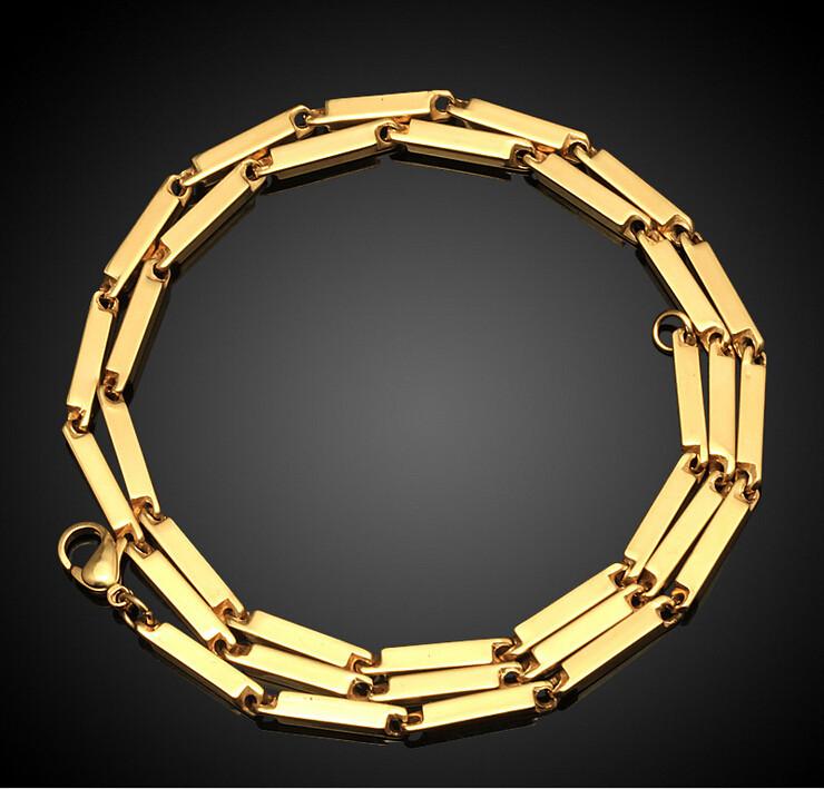 Latest Gold Chain Designs 2016 Stainless Steel Handmade 55cm Bar Link Dubai Chains Product