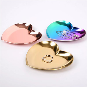 Decorative Gold heart Shaped stainless steel Jewelry Trays