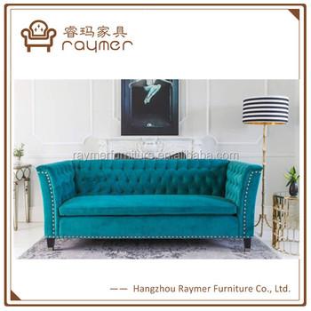 Raymer Mobel Zugeknopft Luxus 3 Sitzer Sofa Franzosisch Blau Samt