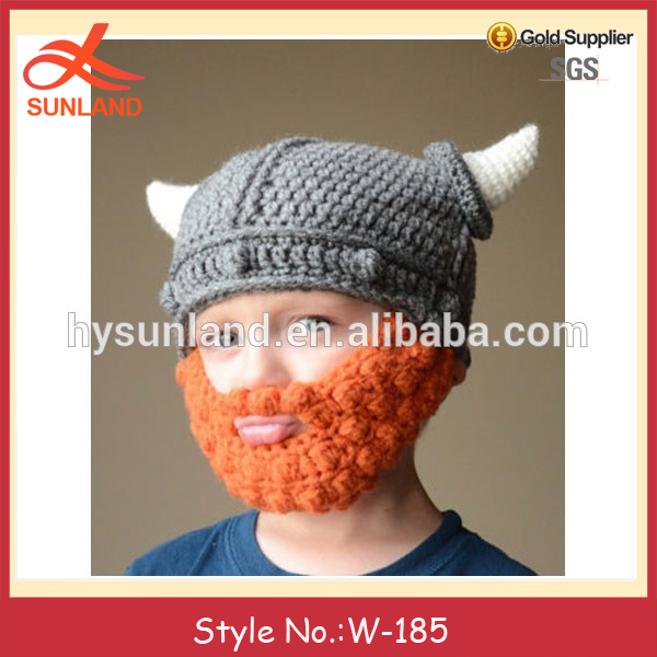 W-185 Adorable Lindo Niños Viking Crochet Sombrero Con Barba - Buy ...