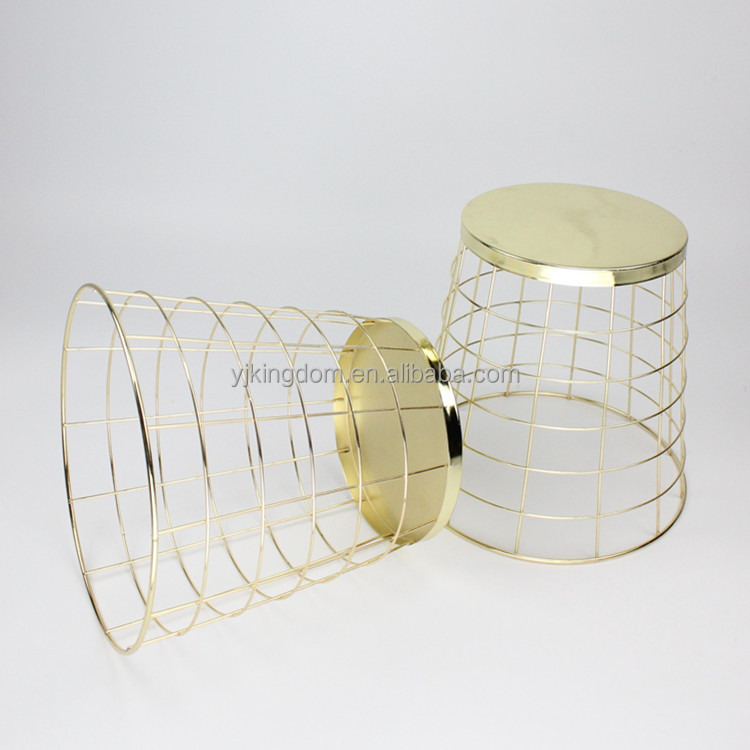 550-36 office supplies round gold-plating metal wire waste dust bin