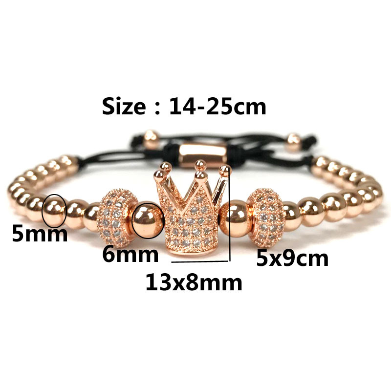 14k gold crown charm beads bracelets with white cz stoppers