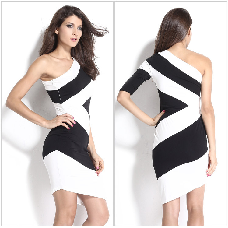 Get Quotations · 2015 new womens sexy dresses mixed color party night club  dress bodycone sexy dress black white fca2713a4c