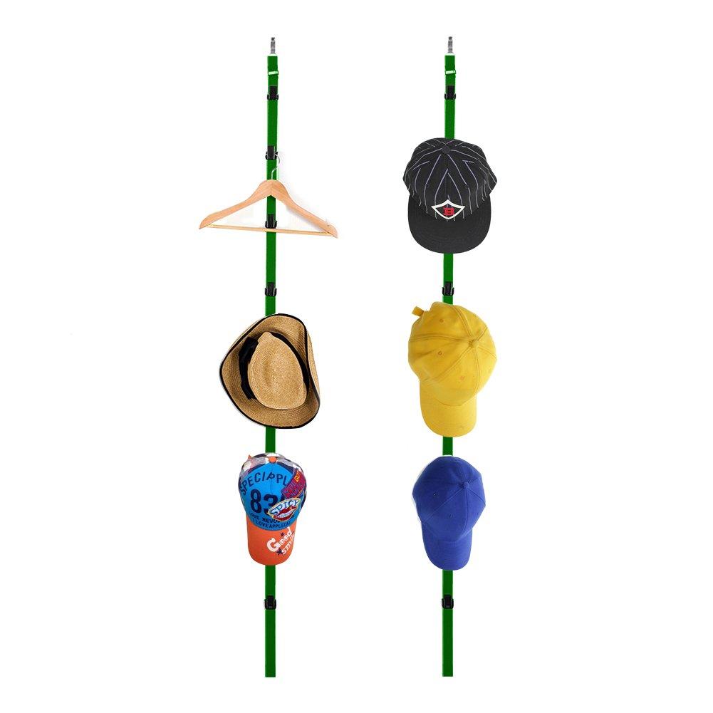 Cap Rack,2 Pack for 16 Caps Adjustable Wall Caprack Hang Up Organizer,Baseball Cap Over the Door Belt Hanger,Sports Ball Cap Holder,Closet Hat Display Rack Storage Rope UPDN Hook (Green)