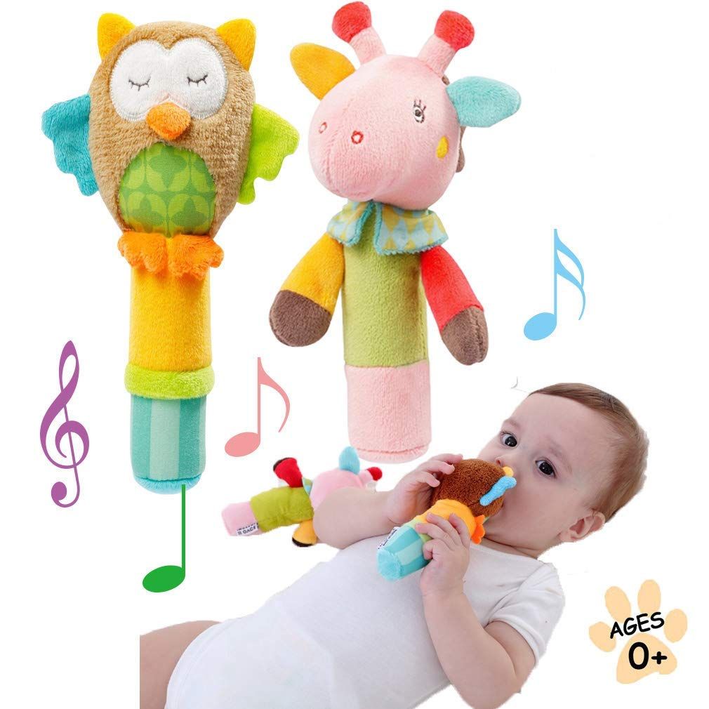 Lovelyes BB Stick Baby Hand Rattle Plush Animal Soft for Toys Newborn Gift 0-2 Years Girls/Boys Toy-Owl, Deer 2 Pack (Owl, Deer)