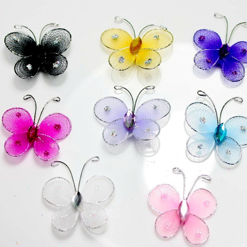 1inch Mini bead handmade stocking Silk glitter painting butterfly decoration <strong>accessories</strong>