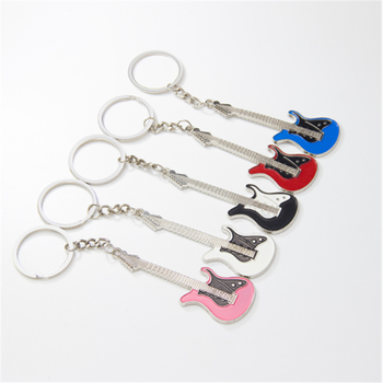 Colorful Customized Zinc alloy Music Metal Guitar Keychain Keyring