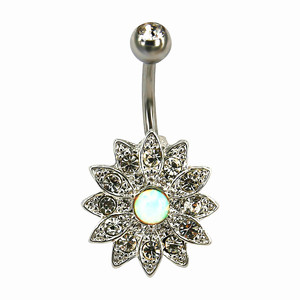 Zesen surgical steel flower belly button piercing non piercing navel ring body jewelry
