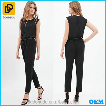 126ac39386b5 Scoop Neck Pleated Front Ladies Formal Jumpsuit For Office Wear ...