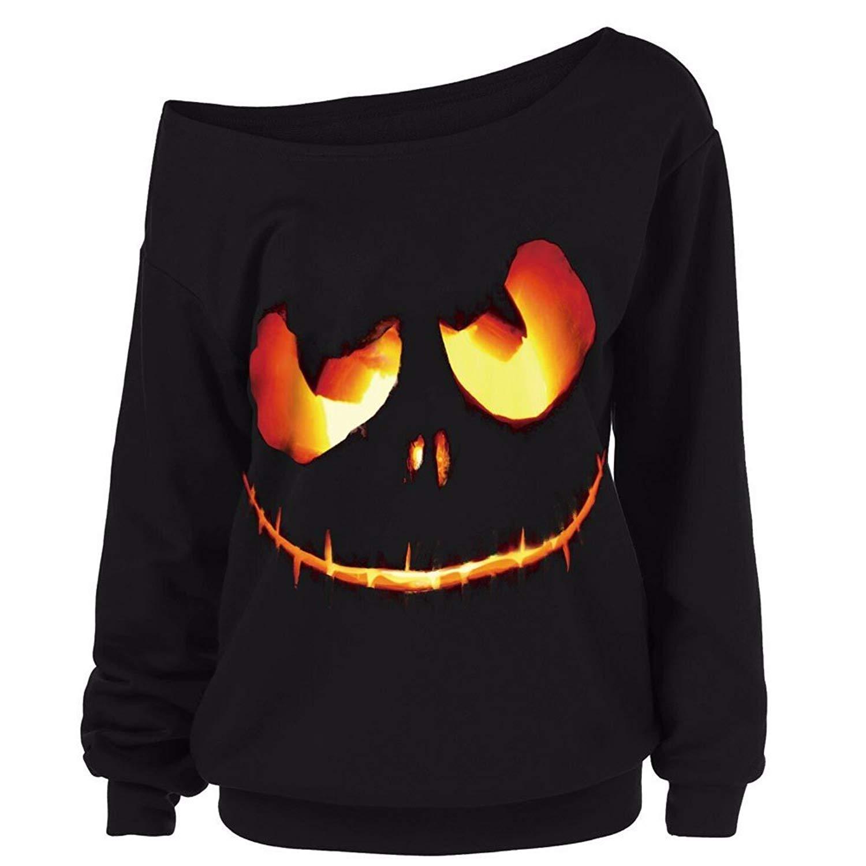 Sweatshirt Blouse, Auwer Plus Size Women Halloween Costumes Pumpkin Devil Sweatshirt Pullover Tops Shirt