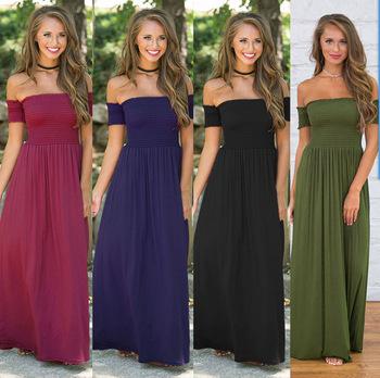 e88896b455f1 Wholesale Sexy strapless beach summer dress sundresses vintage maxi dress  Boho women pure color long dress