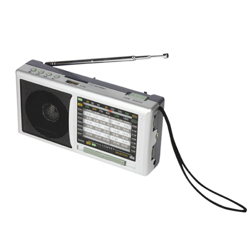 China factory portable radio FM/AM/SW 3 band radio with USB SD card