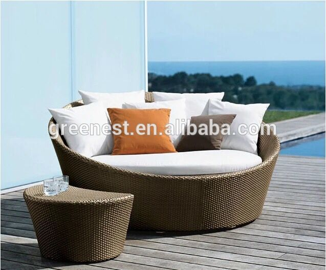 waterproof outdoor round bed aluminum beach sunbed