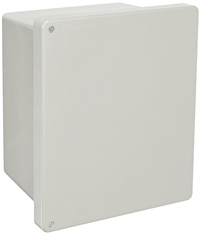 "BUD Industries NF-6613 Fiberglass NEMA Box with Screwed Cover, 11-57/64"" Width x 13-49/64"" Height x 6-51/64"" Depth, Light Gray Finish"