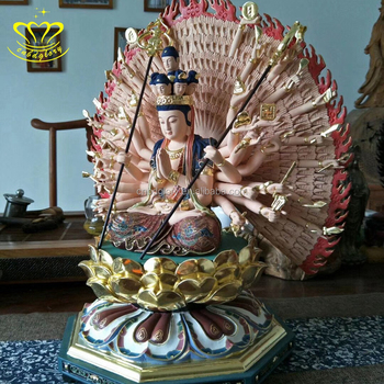 High Quality Painting Fiberglass Standing Buddha Statues Temple Decoration For Sale