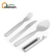 4 Piece Stainless Steel Camping/Hiking/Outdoor Cutlery with Sheath, Knife/Fork/Spoon/Sheath 4 Pcs Set OEM Orders Accepted