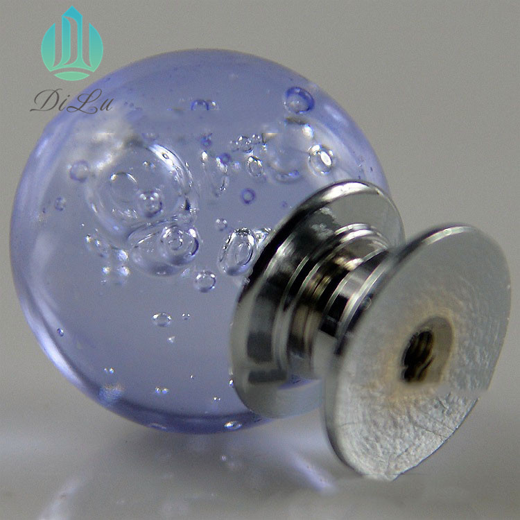 Wholesale Europea Fashion Crystal glass Bubble Ball Aluminum alloy Furniture Handle Knob for Cabinet Drawer Wardrobe Dresser