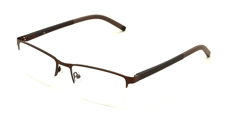 82005f94dbc Get Quotations · V.W.E. Men Half Rimless Rectangular Non-prescription  Glasses Frame Clear Lens Eyeglasses Slim TR90