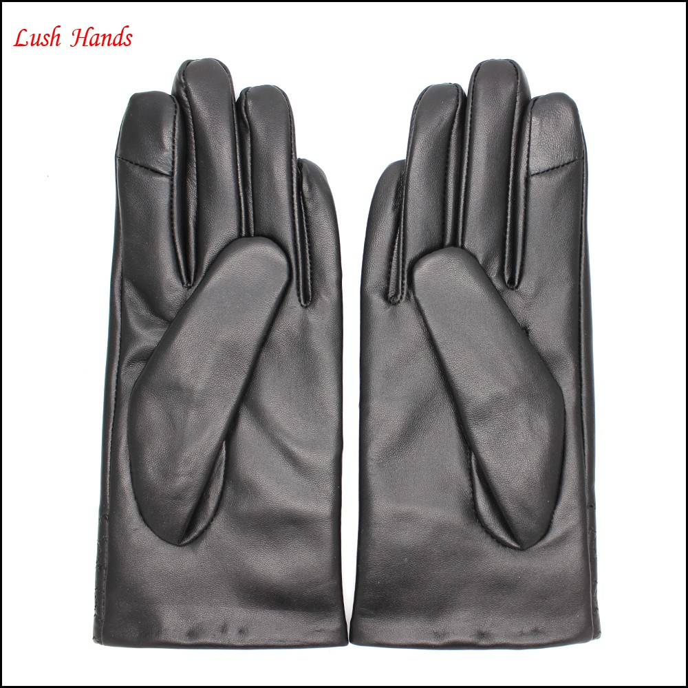 The most classic embroidery patterns ladies index finger touch screen leather gloves