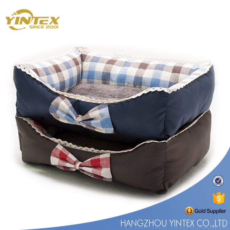 2017 New style check fabric PP cotton filling pet bed luxury dog bed