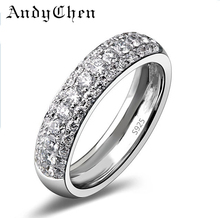 AndyChen Silver Plated Punk Bague Crystal Jewelry Wedding Rings for Women Promise Bijoux Engagement Round Accessories