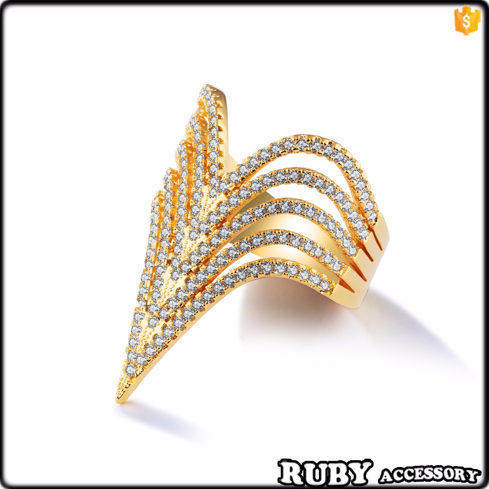 Exaggerated jewelry Fashion copper plating 18 k gold indx finger rings with latest gold ring designs