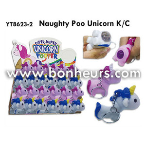 New Novelty Toy Squeeze Animal Naughty Poo Unicorn Keychain