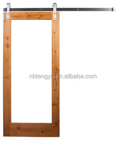 Hotel Continental Style Red Oak Venee Barn Door Slab With Mirror Insert
