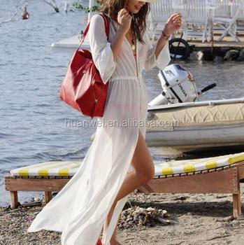 Summer Loose Beach Wear 2017 White Chiffon Long Sleeve Swimsuit Long