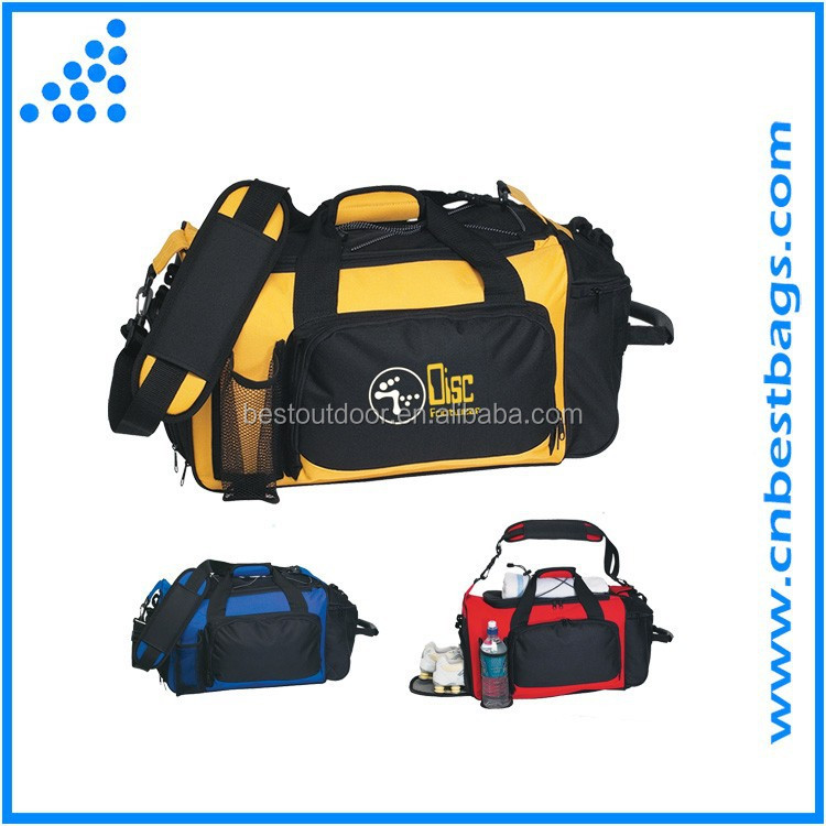2017 hot sell new design polyester & nylon Deluxe Sports Duffel Bag shoulder gym bag