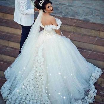 vestido de boda de lujo hecho a mano flores blanco vestidos de boda