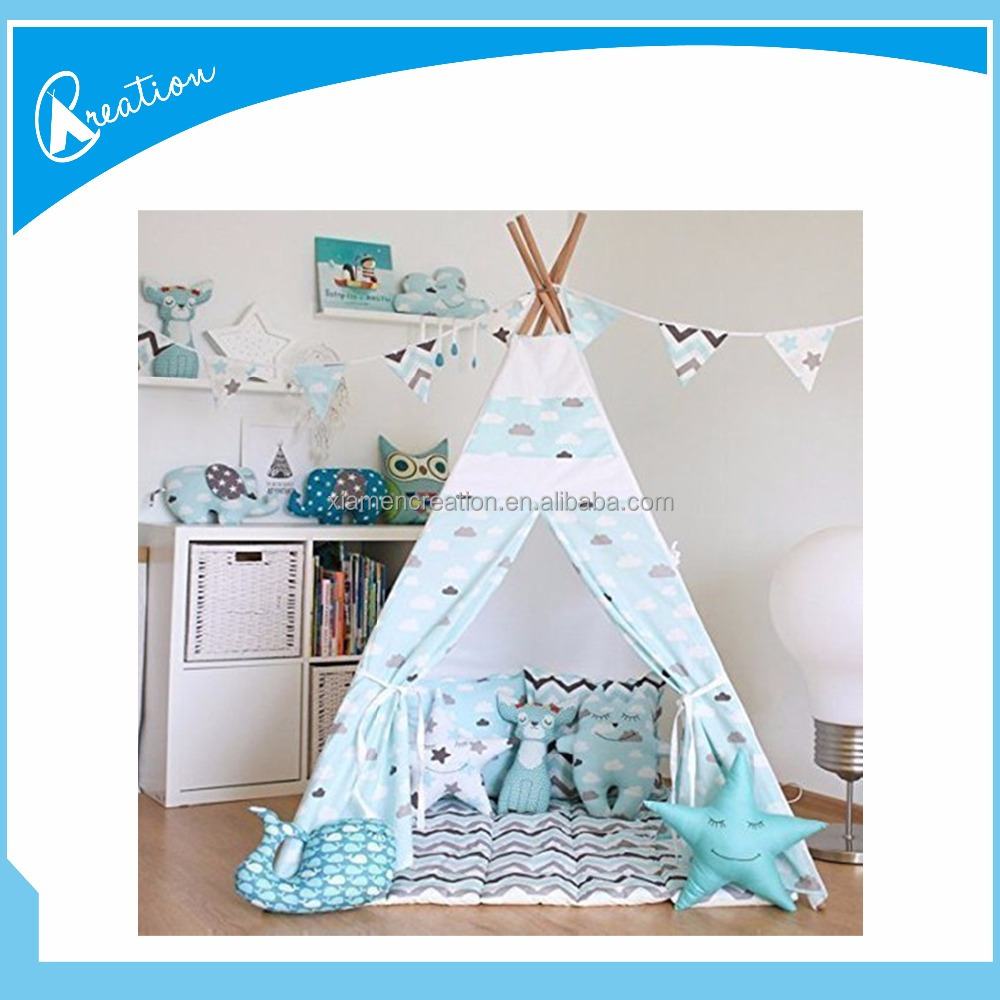kids teepee tent with 4 poles and floor mat play tent kids