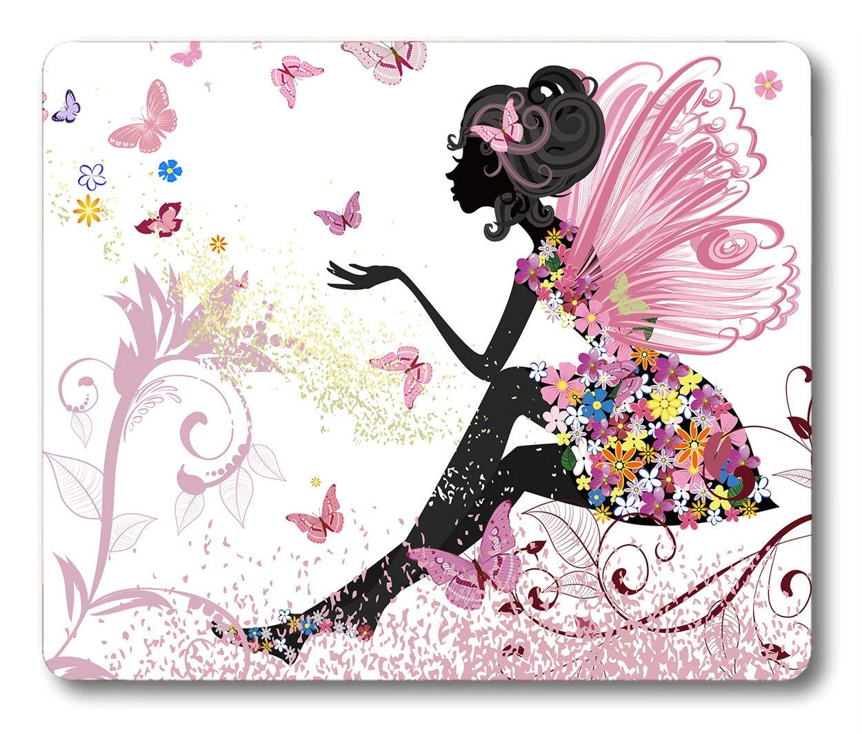 Smooffly Butterfly Girl Mouse Pad,Pink Butterfly Beautiful Girl Non-Slip Rubber Mouse pad Gaming Mouse Pad